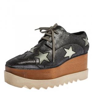 Stella McCartney Metallic Black Faux Leather Star Platform Derby Size 40