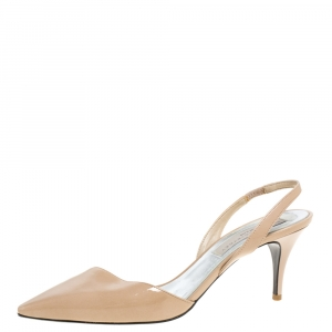 Stella McCartney Beige Faux Patent Leather Slingback Pumps Size 37.5 - used