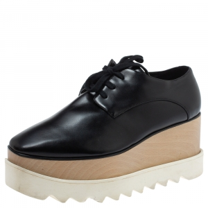 Stella McCartney Black Faux Patent Leather Elyse Platform Derby Size 37 - used