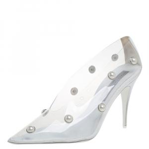 Stella McCartney White PVC Pearl Embellished Pumps Size 38.5 - used