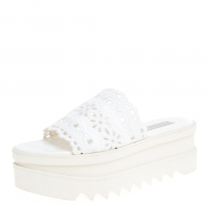 Stella McCartney White Lace Cut Brocade Faux Leather Platform Slides Size 39