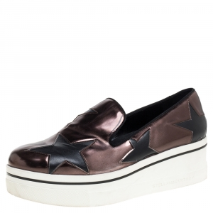 Stella McCartney Black/Brown Faux Leather Binx Star Platform Slip On Sneakers Size 38 - used