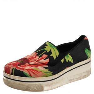 Stella McCartney Black Floral Printed Canvas Slip On Sneakers Size 37 - used
