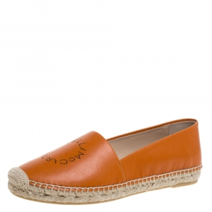 Stella McCartney Orange Faux Leather Logo Espadrilles Size 39