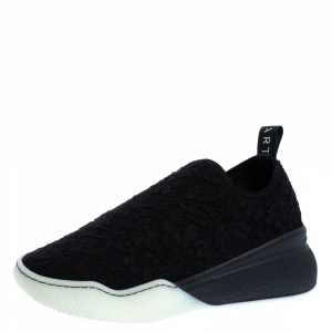 Stella McCartney Black Lace Loop Slip On Sneakers Size 39