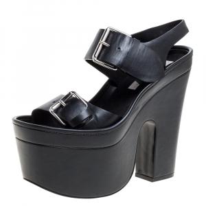 Stella McCartney Black Faux Leather Buckle Block Heel Platform Sandals Size 38 - used
