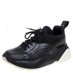 Stella McCartney Black Faux Suede And Embossed Leather Eclypse Low Top Sneakers Size 39 - used