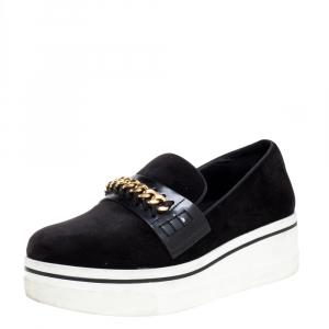 Stella McCartney Black Faux Suede Chain Embellished Platform Slip On Sneakers Size 39 - used