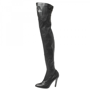 Stella McCartney Black Faux Leather Thigh High Boots Size 38 - used