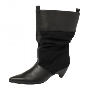 Stella McCartney Black Faux Leather and Canvas Slouchy Ankle Boots Size 36 - used