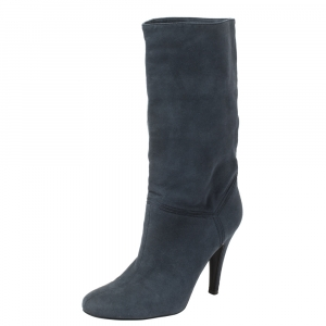 Stella McCartney Navy Blue Faux Suede Boots Size 38 - used