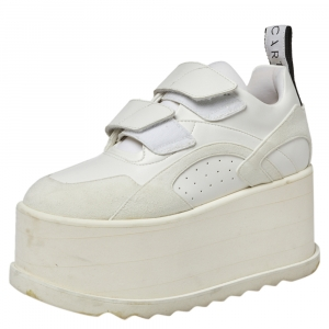 Stella McCartney White Faux Leather and Suede Eclypse Platform Sneakers Size 36.5 - used
