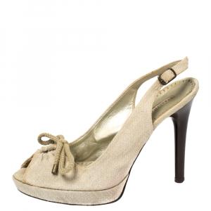 Stella McCartney White Canvas Bow Peep Toe Slingback Sandals Size 39 - used