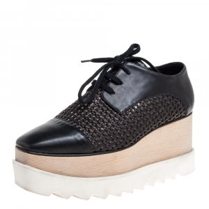 Stella McCartney Black Woven Faux Leather Elyse Platform Derby Sneakers Size 37 - used