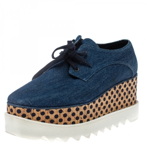 Stella McCartney Blue Denim Fabric Cork Platform Sneakers Size 38 - used