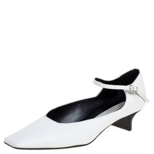 Stella McCartney White Faux Leather Percy Mary Jane Square Toe Pump Size 36 - used