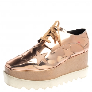 Stella McCartney Rose Gold Faux Patent Leather Elyse Star Platform Sneakers Size 38.5 - used