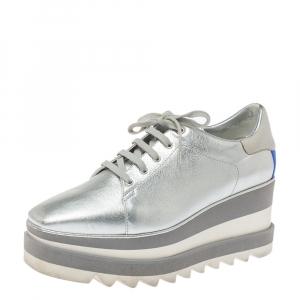 Stella McCartney Metallic Silver Faux Leather Sneak Elyse Platform Derby Sneakers Size 37.5 - used