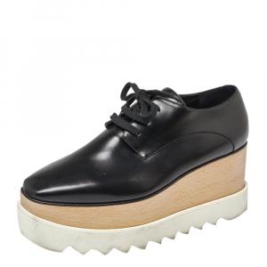 Stella McCartney Black Faux Leather Elyse Platform Derby Sneakers Size 37 - used