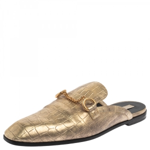 Stella McCartney Gold Faux Croc Embossed Leather Flat Mules Size 38.5 - used