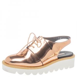 Stella McCartney Metallic Rose Gold Patent Leather Slingback  Mule Sandals Size 36