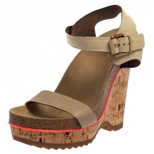Stella McCartney Cream Suede Ankle Strap Wedge Sandals Size 39 - used
