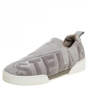 Stella McCartney Grey Faux Suede And Velvet Logo Embossed Slip On Sneakers Size 40 - used
