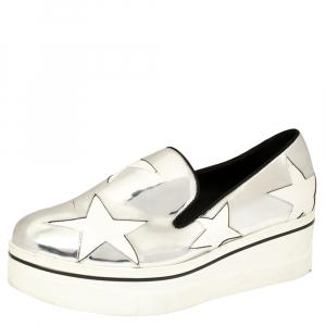 Stella McCartney Metallic Silver Faux Leather Binx Star Platform Slip On Sneakers Size 41 - used