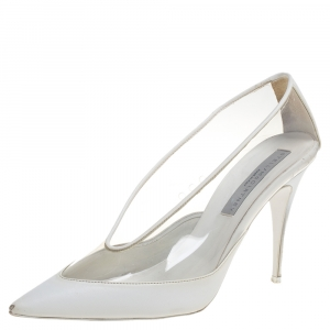 Stella McCartney White Faux Leather And PVC Pointed Toe Pumps Size 40 - used