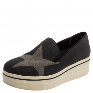 Stella McCartney Dark Grey Star Binx Canvas Platform Slip-On Sneaker Size 40 - used