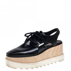 Stella McCartney Black Faux Leather Elyse Cut Out Derby Sneakers Size 39 - used