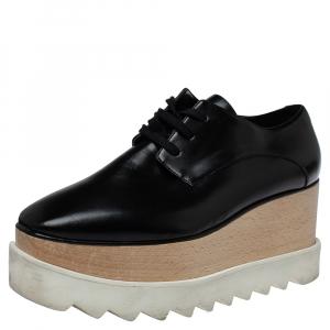 Stella McCartney Black Faux Leather Elyse Platform Derby Sneakers Size 36 - used