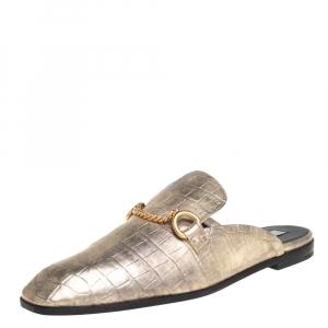Stella McCartney Metallic Gold Faux Croc  Leather Chain Trim Flats Size 39
