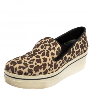 Stella McCartney Beige Leopard Print Canvas Platform Slip on Sneakers Size 40