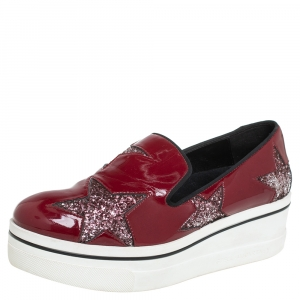 Stella McCartney Red Faux Patent Leather  Slip On Platform Sneakers Size 38