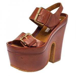 Stella McCartney Brown Faux Leather Block Heel Platform Sandals Size 35