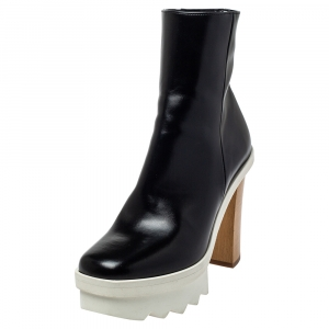 Stella McCartney Black Faux Leather Platform Ankle Boots Size 36 - used