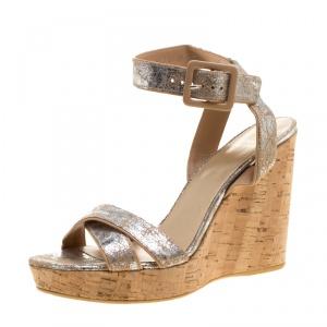 Stuart Weitzman Metallic Silver Embossed Suede Cross Strap Cork Wedge Sandals Size 40.5 -