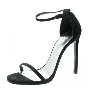 Stuart Weitzman Black Textured Suede Ankle Strap Open Toe Sandals Size 39.5 -