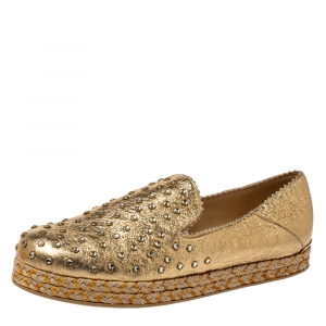 Stuart Weitzman Metallic Gold Leather Crystal Embellished Espadrille Flat Size 37