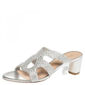 Stuart Weitzman Silver Leather The Sarita Sandals Size 37.5 -