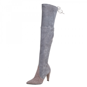 Stuart Weitzman Grey Suede Highland Over The Knee Boots Size 37.5 -