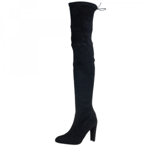 Stuart Weitzman Black Suede Leather Highland Over The Knee Boots Size 39.5