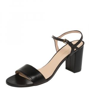 Stuart Weitzman Black Leather Solo Ankle Strap Block Heel Sandals Size 40 - used