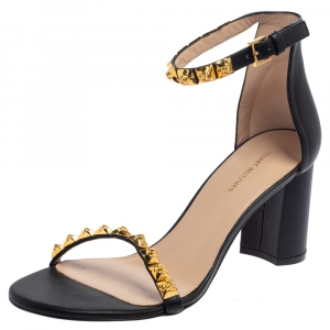 Stuart Weitzman Black Leather Embellished Ankle Strap Sandals Size 39.5 - used