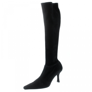 Stuart Weitzman Black Suede Knee Length Square Toe Boots Size 40 - used