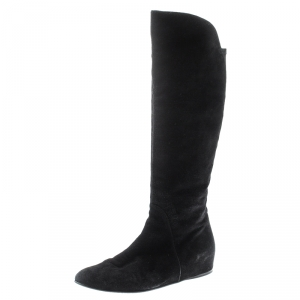 Stuart Weitzman Black Suede/Fabric Knee Length Boots Size 41 - used