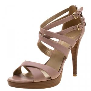 Stuart Weitzman Blush Leather Cross Strap Sandals Size 39.5 - used