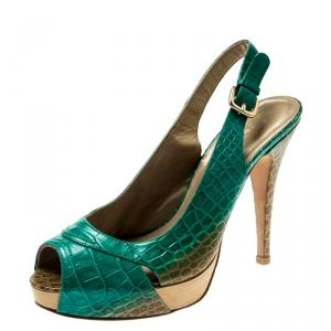 Stuart Weitzman Green Degradè Croc Embossed Leather Peep Toe Platform Slingback Sandals Size 39.5 - used