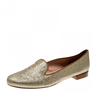 Stuart Weitzman Metallic Gold Glitter Smoking Slippers Size 37.5 - used